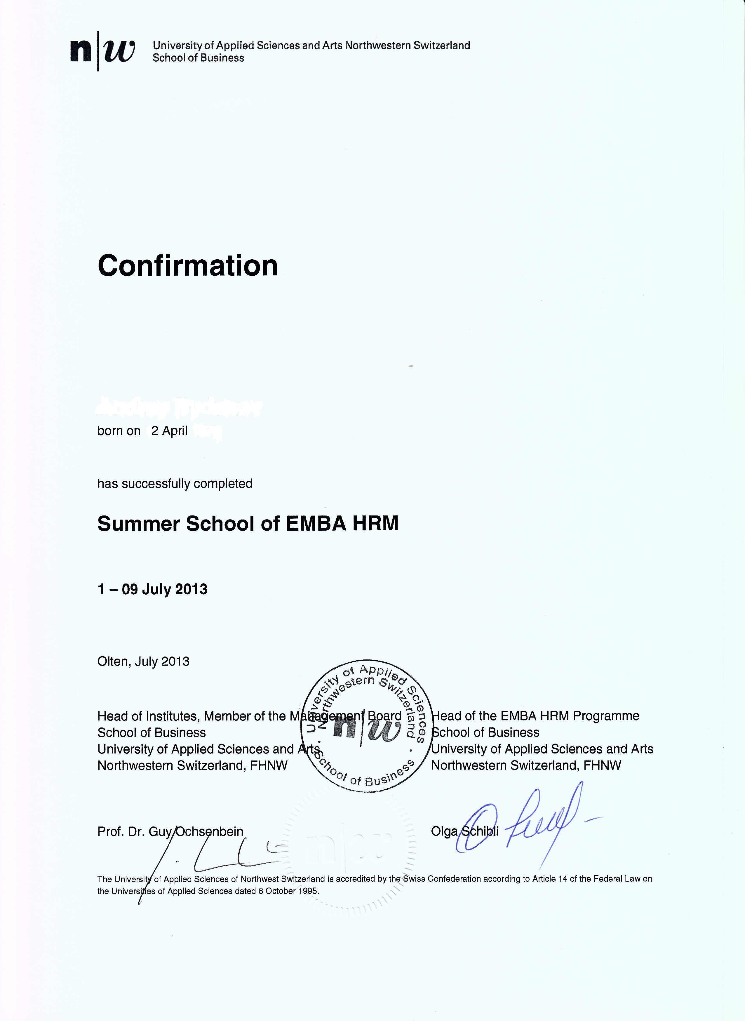 Комплекс лидерских программ Сертификат Школы бизнеса Университета прикладных наук Северо Западной Швейцарии jpg